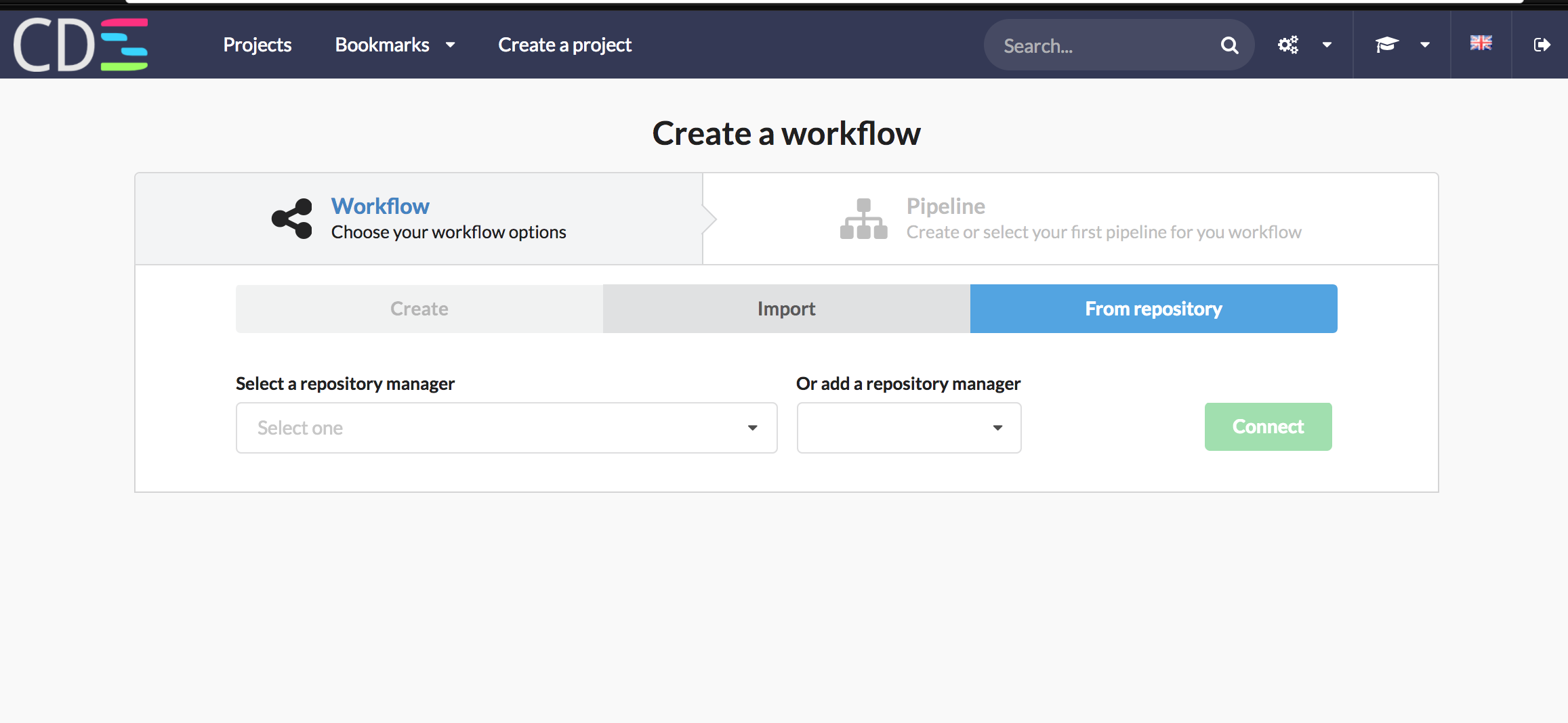 Choose a repo manager - create workflow