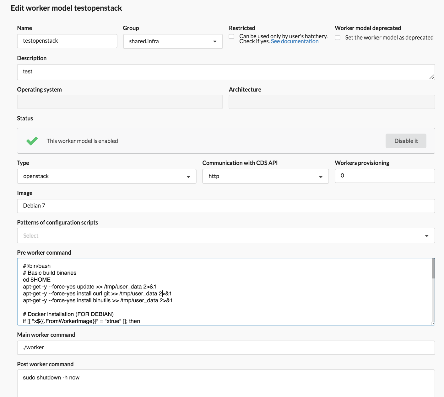 Worker Model UI OpenStack