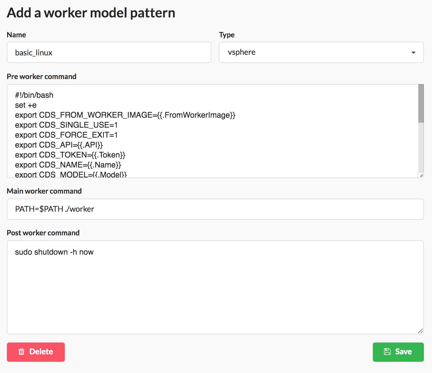 Worker Model Patterns menu